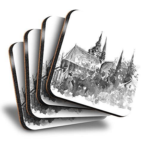 Destination Vinyl ltd Great Posavasos (juego de 4) cuadrados – BW – acuarela Castle House Home Art Drink brillante posavasos / protección de mesa para cualquier tipo de mesa #43745