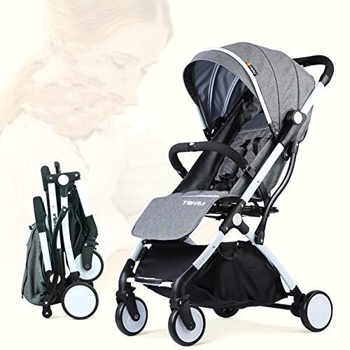 Poussette Canne Ultra compacte Pliable Landau bébé - Parapluie pour poussettes compactes Pliantes - Siège inclinable - Voyage en Avion - Pli pour Une Main - du bébé à 36 Mois