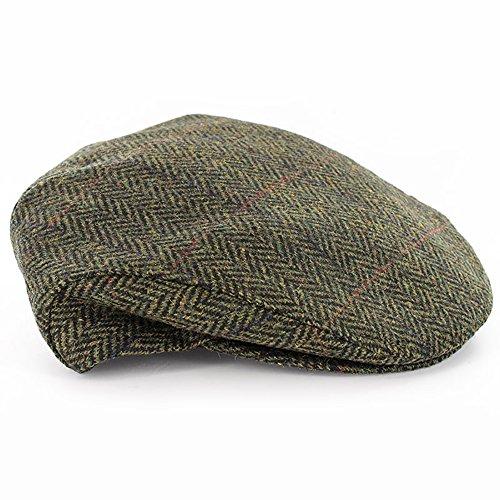 Mucros Weavers Men's Irish Made Trinity Cap, Col 27 (Green Herringbone), Large