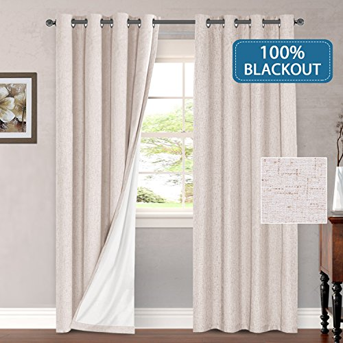 H.VERSAILTEX 100% Blackout Thermal Curtains for Bedroom Energy Efficient Lined Blackout Drapes for Living Room Window Treatment Set 52 x 96 inches Curtain Panel Grommet Top, Natural, Sold by Pair