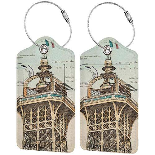 VORMOR Gepäckanhänger Kofferanhänger mit Adressschild,Vintage Postkarte mit Eiffelturm Paris Frankreich 1910 seltene antike Sammlung,Kofferanhänger zur Identifizierung von Tasche,(2 Stück)