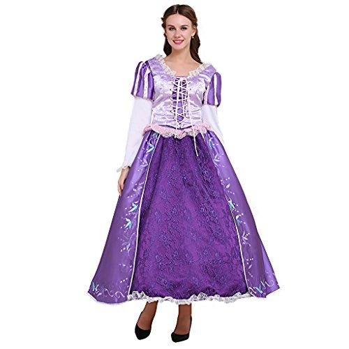 Fortunehouse Disfraz de princesa púrpura para adulto vestido de bola Rapunzel disfraz para Halloween