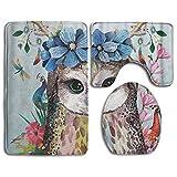 Goodsthing Tapis de Bain Tree Art Animal Bird Bath Mat,3 Piece Bathroom Rug Set, Flannel Non Slip Toilet Seat Cover Set,Large Contour Mat