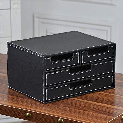 WEI-LUONG Caja de Almacenamiento Black Fuax Cuero Documento de Madera Document Caja de Almacenamiento Cajón Papel Organizador Gabinete
