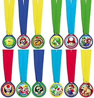 amscan Super Mario Brothers Birthday Party Assorted Colors Mini Award Medal Favors (12 Piece), Multicolor, 1 1/2