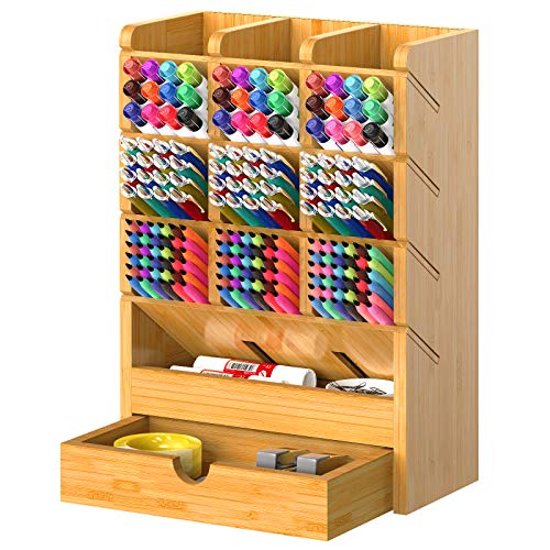 Bamboo Pen Organizer for Desk Multi-Functional Pencil Storage Holder with 9 Compartments Wood Large Capacity Pen Desktop Organizer for Stationery School Home Office by FURNINXS