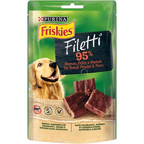 Purina Friskies Filetti Cane Snack Gusto Manzo, 7 Confezioni da 70 g Ciascuna