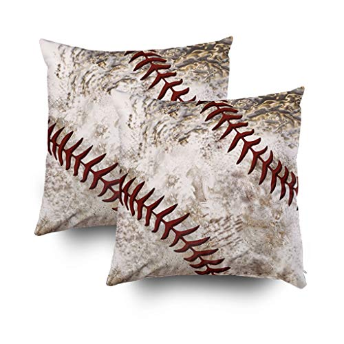 Shorping Christmas Zippered Pillow Covers Pillowcases 18x18Inch 2 Pack Cool Round Dirty Baseball Guys Decorative Throw Pillow Cover Pillow Cases Cushion Cover for Home Sofa Bedding