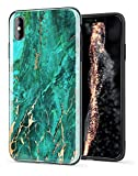 Imikoko iPhone Xs Max Case iPhone Xs+ Shiny Gold Green