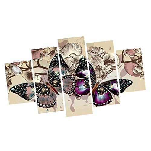 5pcs Decoración de Pared Mariposa Cuadro de Pintura Arte