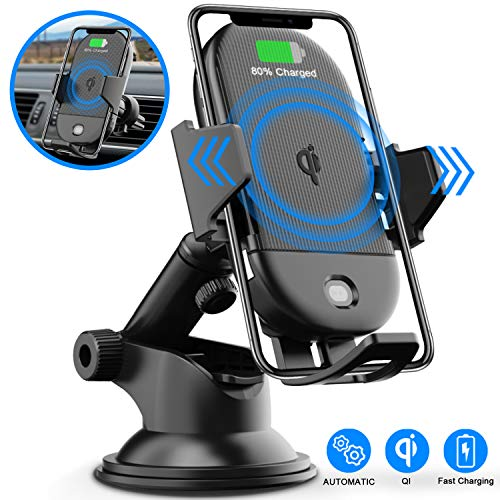 LETSCOM Wireless Car Charger,15W Qi Fast Charging Car Mount Charger Auto-Clamping Windshield Dashboard
