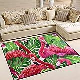 Tenboya Teppich, 120 cm x 160 cm, rosa Flamingo, Tropische Palmen, Monstera Blätter, rutschfest, für Wohnzimmer, Schlafzimmer, 122 x 152 cm, Textil, Multi, 150x220cm (5' x 7'feet)