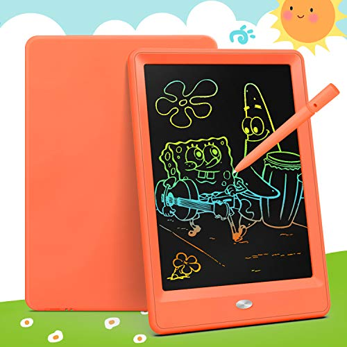 Bravokids Toys for 3-6 Years Old Girls Boys, LCD Writing Tablet 10 Inch Doodle Board, Electronic Drawing Tablet Drawing Pads, Educational Birthday Gift for 3 4 5 6 7 8 Years Old Kids Toddler (Orange)