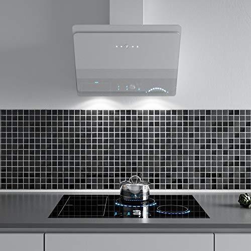 VLANO MIRA 900 WH / * EEK A+ * / Kopffreie Dunstabzughaube / 90 cm/weiß Glas Design/Touch Control/ECO LED / 43 dB (A) / Extra leiser Brushless Motor/Abluft/Umluft / (90 cm) - 2