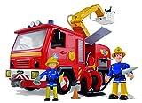 Simba 109257661 - Feuerwehrmann Sam Jupiter Feuerwehrauto mit 2 Figuren, 28 cm -