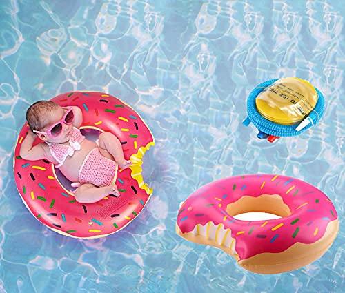 Salvagente Donut,Anello da Nuoto per Bambini,Ciambella Gonfiabile Donut con da Spiaggia per Piscina Estiva, Salvagente Ciambella Dotato di 1 Pompa ad aria-66 cm-Rosa