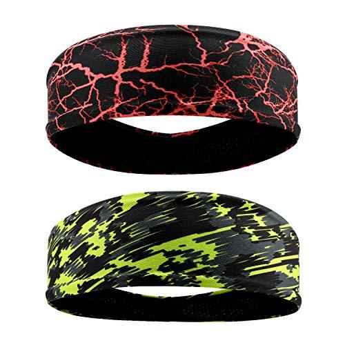 QKURT Deportes Diadema (2PCS), Unisex Sweatband Yoga Fitness Sudaderas para Correr, Senderismo, Hacer Ejercicio, Ciclismo, Yoga - Estiramiento de Humedad