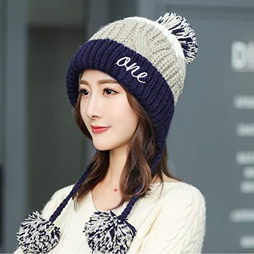 OEWFM Strickmütze Handgemachte ethnischen Stil häkeln Mosaik Parkett Beanie Strickmütze Damen Winter warme Mütze