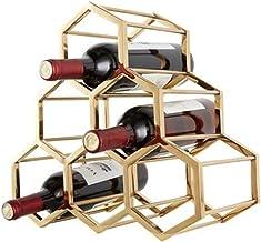 QXM Metalen honingraat wijnrek wijnrek Nordic villa thuis zachte decoratie wijnkast decoratie, Goud