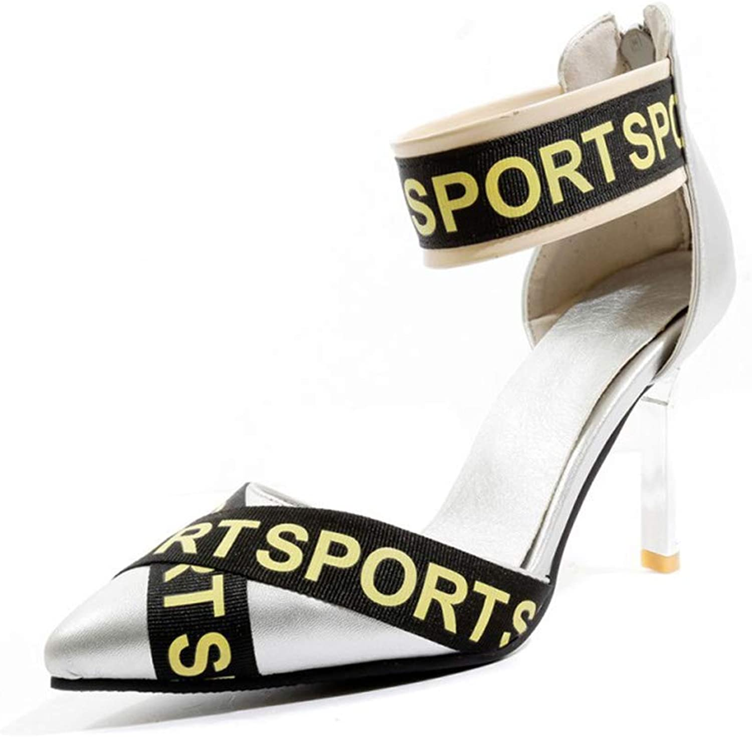 Stiletto Heels Pointed Zipper Hollow shoes Artificial PU Letter Decorative Sandals Summer New