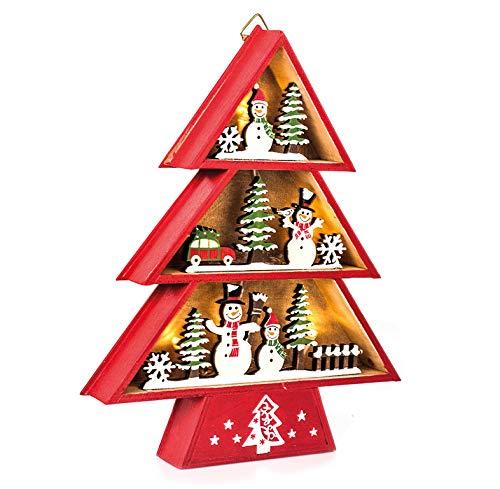 EUROCINSA Ref. 28303 Houten huisje met lampen (zonder batterijen) met kerstmotieven rood en groen 19 x 24 cm 2 stuks, eenheidsmaat