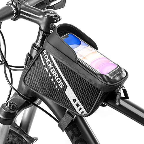 ROCKBROS Bolsa Manillar Cuadro de Bicicleta Doble Alforja Pantalla Táctil para MTB Carretera Compatible con Teléfono Móvil de 7,5 Pulgadas