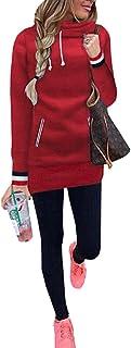 Kisscy Women's Long-Sleeve Funnel Neck Muff Pocket Sporty Sweatshirt Hoodies