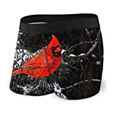 XCNGG Calzoncillo Tipo bóxer para Hombre, Navidad, pájaro Rojo, Reversible, Negro, cojín Frontal, con Bolsa, Ropa Interior