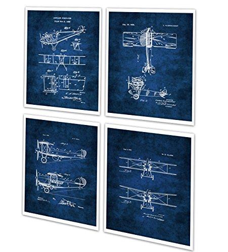 Vintage Biplanes A Set of 4 Unframed Blueprint Art Aviation Decor