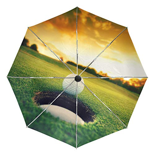 XiangHeFu Paraguas Sunset Golf Ball Game Sport Auto Open Close 3 Plegable Ligero Anti-UV