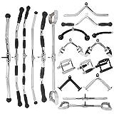 LHXFAN Accesorios para tracción máquinas de Cable de Gimnasio,Máquinas De Fitness Gimnasio,Triceps Cuerda,Mango de Remo Paralelo en V,Barra Recta giratoria - Mango de herradura-87cm