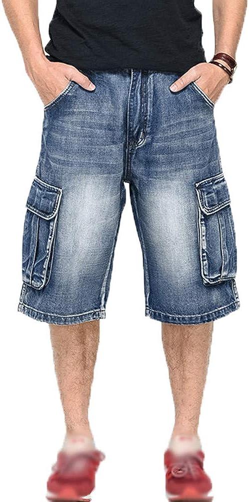 Men`s Cargo Denim Jeans Shorts Casual Capri Pants Knee Length Shorts Skateboard Denim Shorts with Multi Pockets