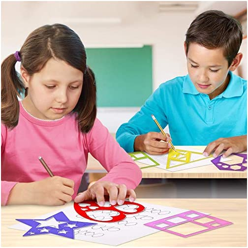 Karty Shape Stencil Set for Kids - 10 Piece Set - Colorful Drawing Template Kit - Fun Arts and Crafts Supplies, Gift… |