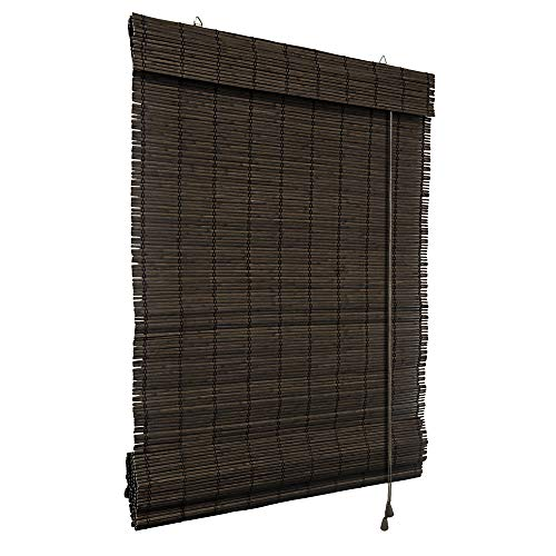 Victoria M. Bambus Raffrollo 60 x 160 cm in Dunkelbraun, Sichtschutz Rollo für Fenster und Türen