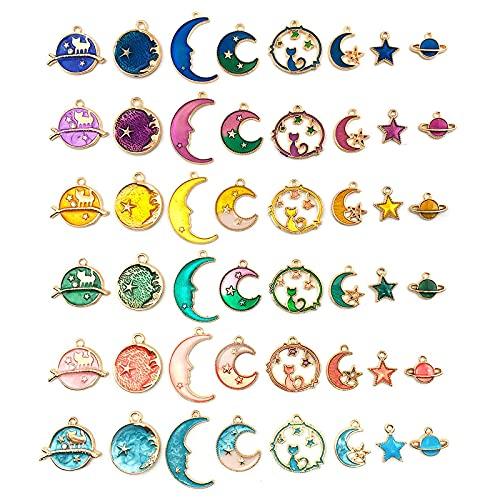 LYMHGHJ 24 Piezas, Surtido, Chapado en Oro, Luna, Estrella, Colgante Celestial, Accesorios de joyería de Bricolaje, aleación de Goteo, pequeños Colgantes, Pulsera, Colgantes, para Pendientes, Collar