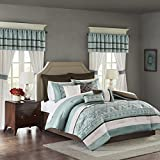 Madison Park Essentials Jelena Room in A Bag Faux Silk Comforter Classic Luxe All Season Down Alternative Bed Set with Bedskirt, Matching Curtains, Decorative Pillows, Queen, Seafoam, 24 Piece