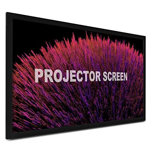 Techlifer Schermo per Proiezione 305cm 120 Pollici Schermo Proiettore 16: 9 Proiettore in Alluminio Schermo Cinematografico Fisso 3D per Cinema 4K HDTV