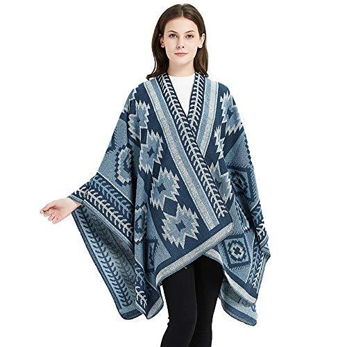 QMWY vrouwen sjaals, Kerstboom Nationale Wind Open Vork Sjaal Cape Grote Plafond Lock Edge Plus Verdikte Sjaal Sjaal 150x130cm