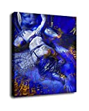 Abstract Nude Art Oil Painting Print On Canvas Modern Wall Art Decorative Fucking Blue Couple (16x24inch-Framed/Ready to hang) (8x12inch)