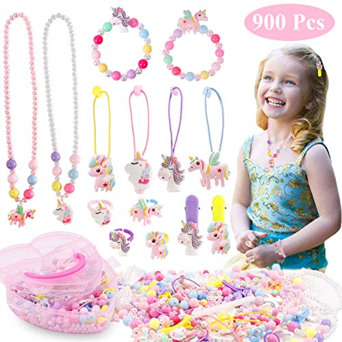 Unicorn Craft Gifts for Girls, 800+ Piece Beads Toys Set for Kids, DIY Arts Jewelry Making Kit for Girls Ages 5 and Up, Fun and Colorful Stuff for Party Favors, Create Rings, Bracelets, Necklaces, Hairbands, Hairpin Accessories for Classroom Rewards Christmas Halloween