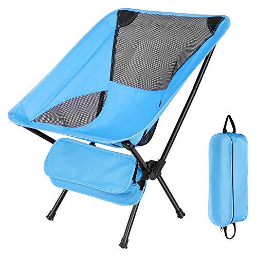 Ultralight Portable Camping Chair DIAHOUD  Aircraft Grade AluminumampAntiSlip Feet  Folding Backpack Outdoor Chair for Travel Hiking PicnicBlackBlueSky Blue