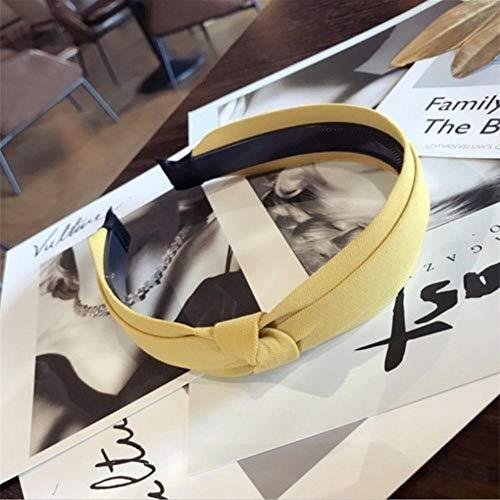 Fijnere haaraccessoires effen kleur stof dubbelzijdig geknoopte strik met tanden antislip haarband hoofdband haarband vrouwen, geel