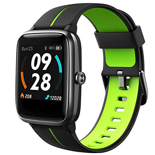 Lintelek Smartwatch 1.3 Zoll Touch Farbdisplay Screen mit GPS 5ATM Wasserdicht Smart Watch mit Herzfrequenzmesser Schlafmonitor Fitness Tracker Wettervorhersage Sportuhr Schrittzähler für Damen Herren