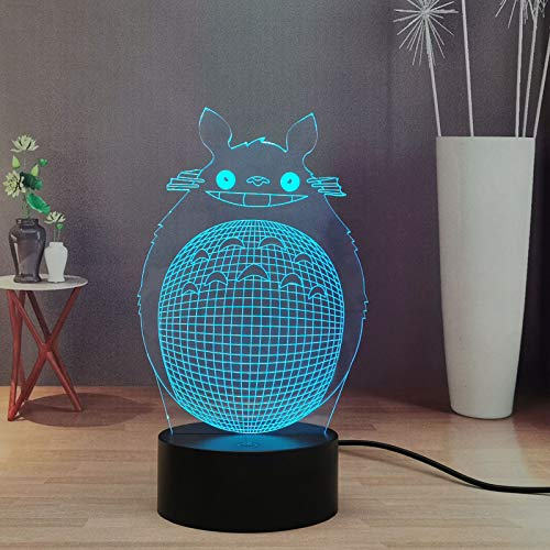 Mon Vecino Totoro LED - Luz nocturna infantil japonesa para niños, 16 colores 3D de escritorio, decoración de luz, bonito regalo de vacaciones para niños y niñas