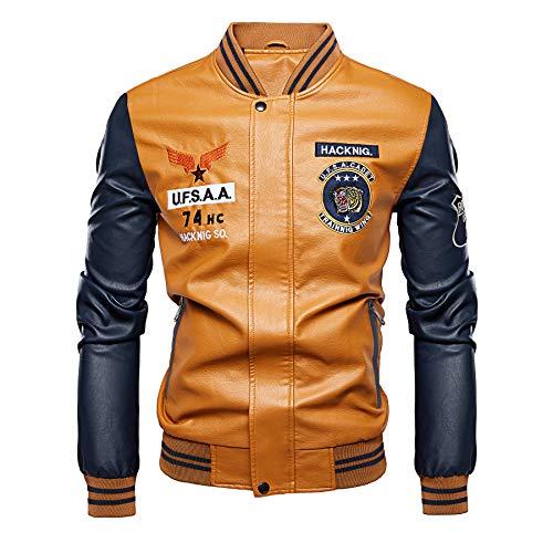 Men's Baseball Varsity Jackets Faux Leather Casual Flight Bomber Jacket Fashion Coat YL Navy
