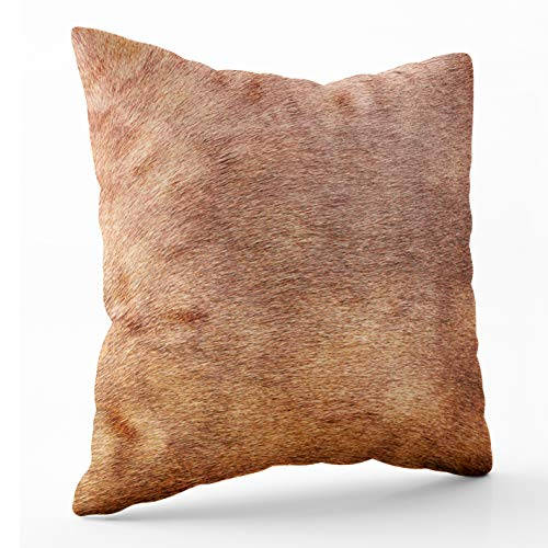 Crannel JoyPillowCase, Double-Sided Printing Pillowcase 16X16 Inch Throwing Cushion,Horse Skin Concept Background Brown,Invisible Zipper Square Decorative Home Sofa