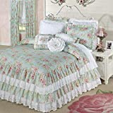 Touch of Class Cottage Rose Grande Ruffled Bedspread Aqua Mist
