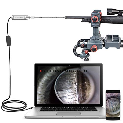 Teslong Rigid Rifle Borescope, USB Digital Close Focus Gun Barrel Bore Scope Endoscope Videoscope Inspection Camera with 0.2inch Diameter & 26inch Long Insertion Tube for PC Mac Android