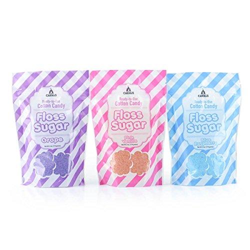Carnus 3 Flavor Cotton Candy Sugar, 6 oz. Pouches