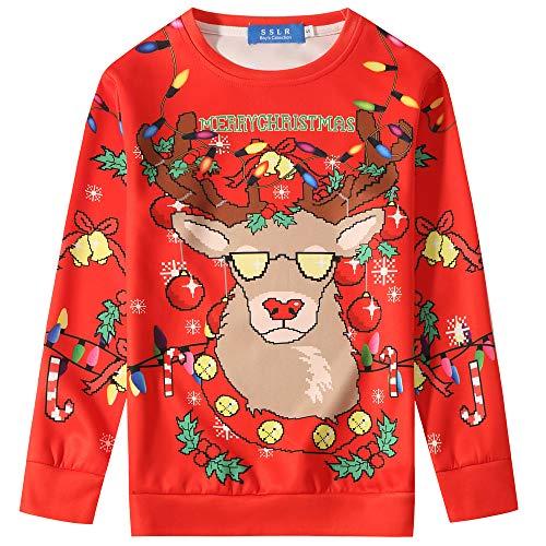 SSLR Big Boys' Funny Xmas Crewneck Pullover Ugly Christmas Sweatshirt...